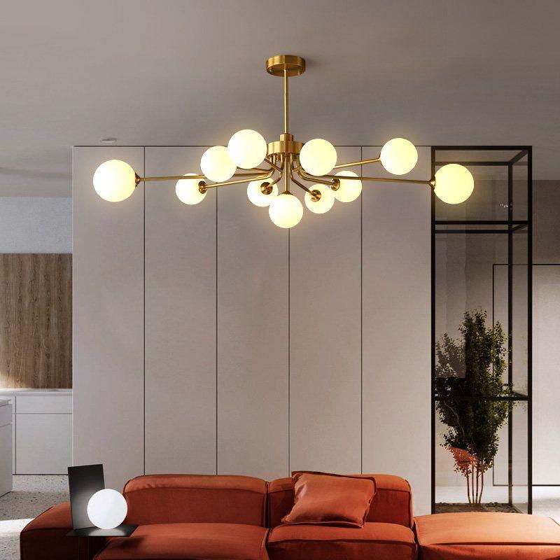 Đèn trần phòng khách phong cách Bắc Âu ấn tượng 8737 11 bóng khung vàng