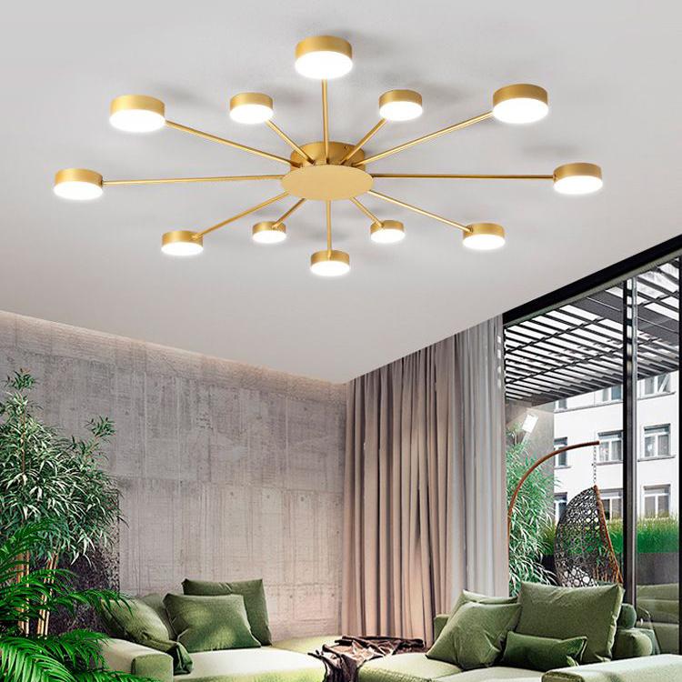 Đèn trần phòng khách phong cách Bắc Âu ấn tượng MH047 12 bóng khung vàng