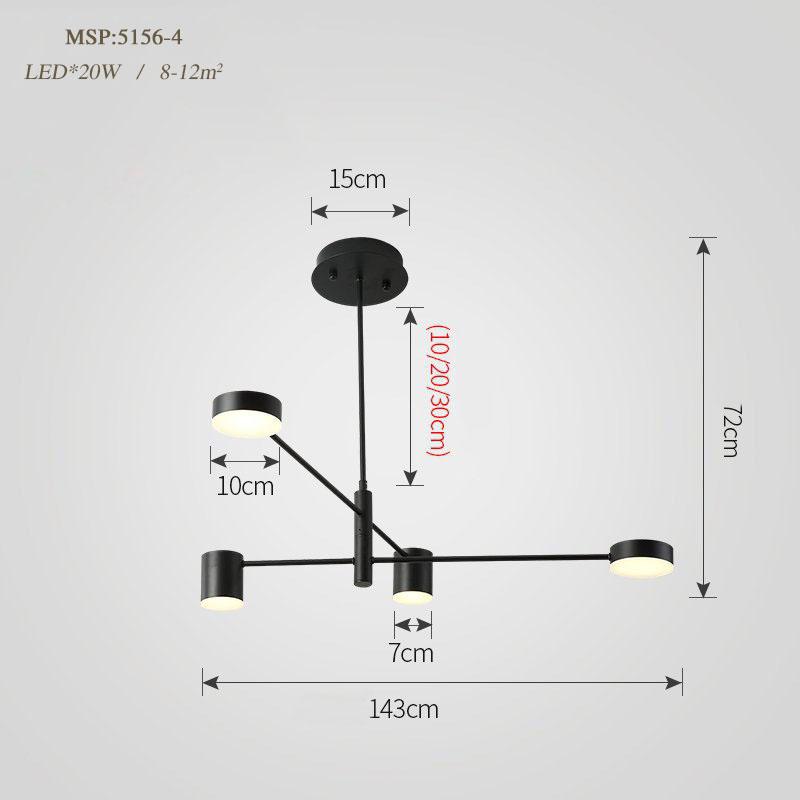 Đèn trang trí phong cách Bắc Âu sáng tạo đầy cá tính cho không gian nhà hiện đại 5156-4 màu đen