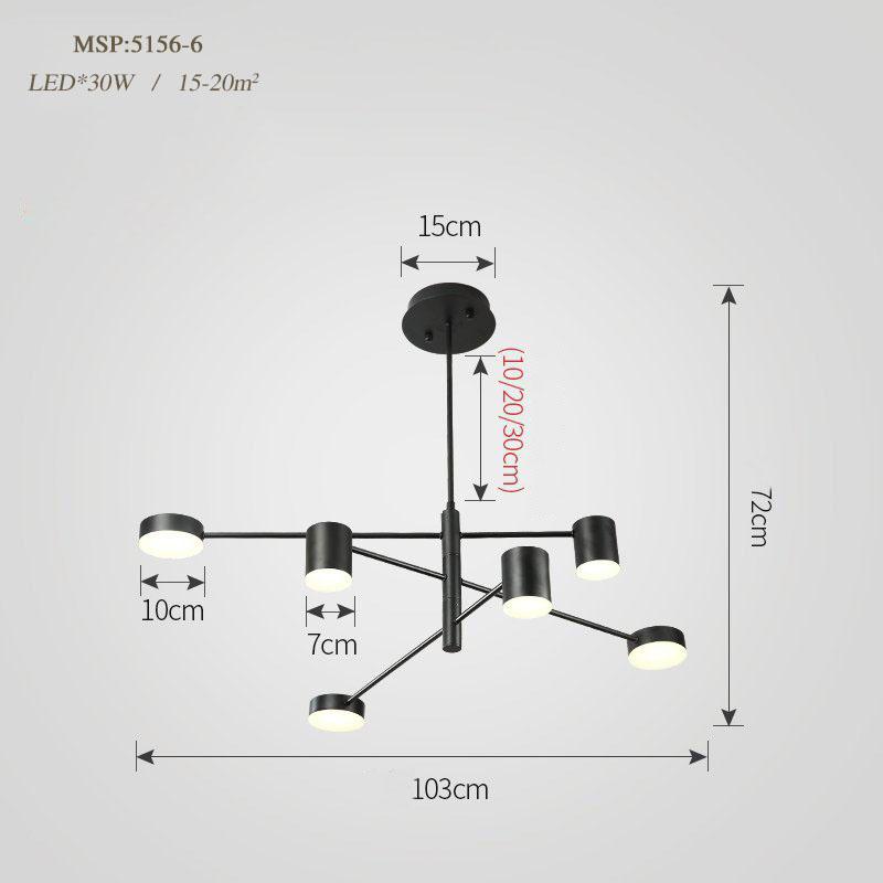 Đèn trang trí phong cách Bắc Âu sáng tạo đầy cá tính cho không gian nhà hiện đại 5156-6A màu đen