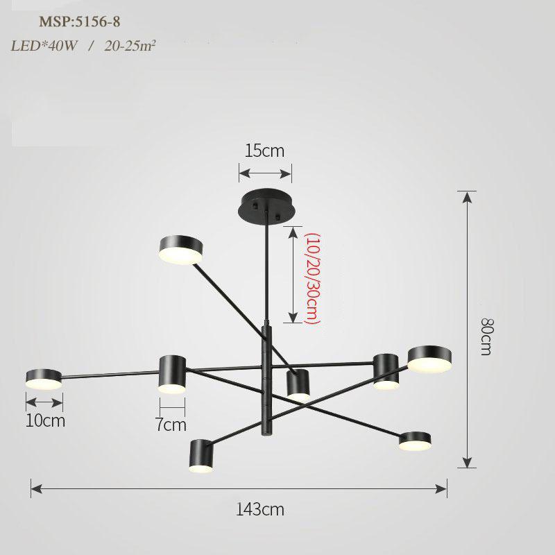 Đèn trang trí phong cách Bắc Âu sáng tạo đầy cá tính cho không gian nhà hiện đại 5156-8B màu đen