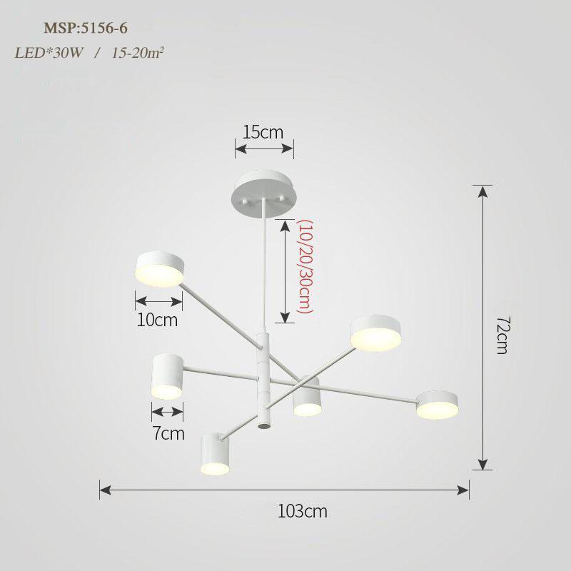 Đèn trang trí phong cách Bắc Âu sáng tạo đầy cá tính cho không gian nhà hiện đại 5156-6A màu trắng