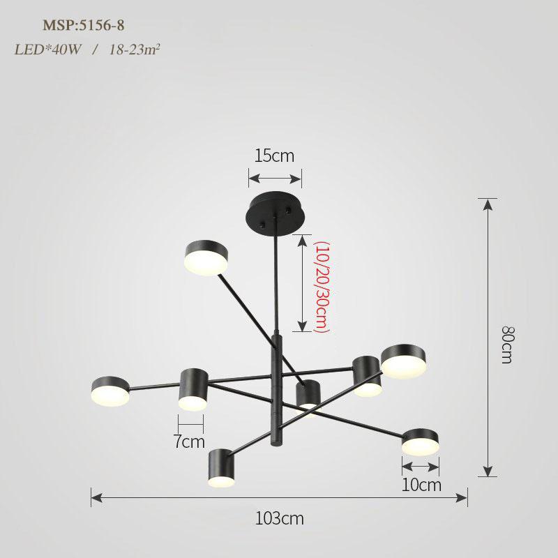 Đèn trang trí phong cách Bắc Âu sáng tạo đầy cá tính cho không gian nhà hiện đại 5156-8A màu đen