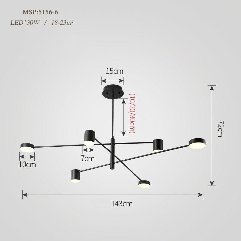 Đèn trang trí phong cách Bắc Âu sáng tạo đầy cá tính cho không gian nhà hiện đại 5156-6B màu đen