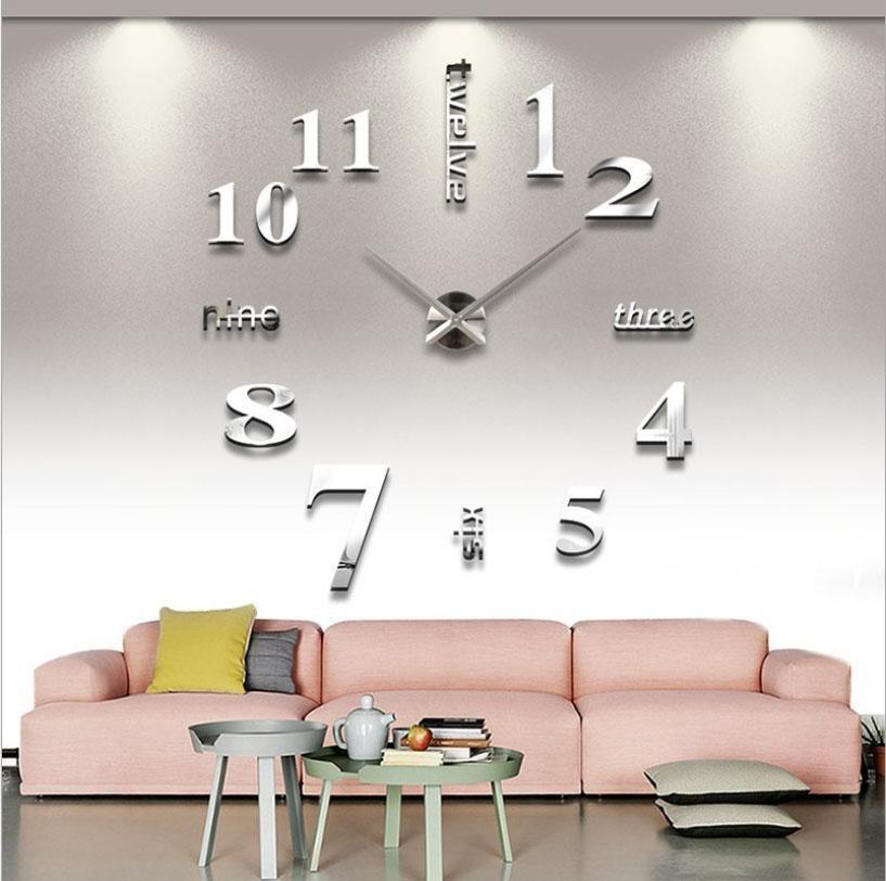 Đồng hồ dán tường phong cách Châu Âu hiện đại GZ-220 màu bạc