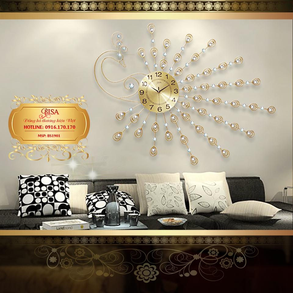 Đồng hồ treo tường công vàng đậm chất hoàng gia, thương hiệu bisa độ bền trên 20 năm BS1901W-140