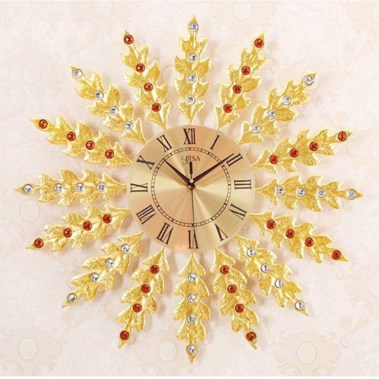 Đồng hồ treo tường lá kim tiền mang đến may mắn tài lộc cho gia chủ LM6689-75YL