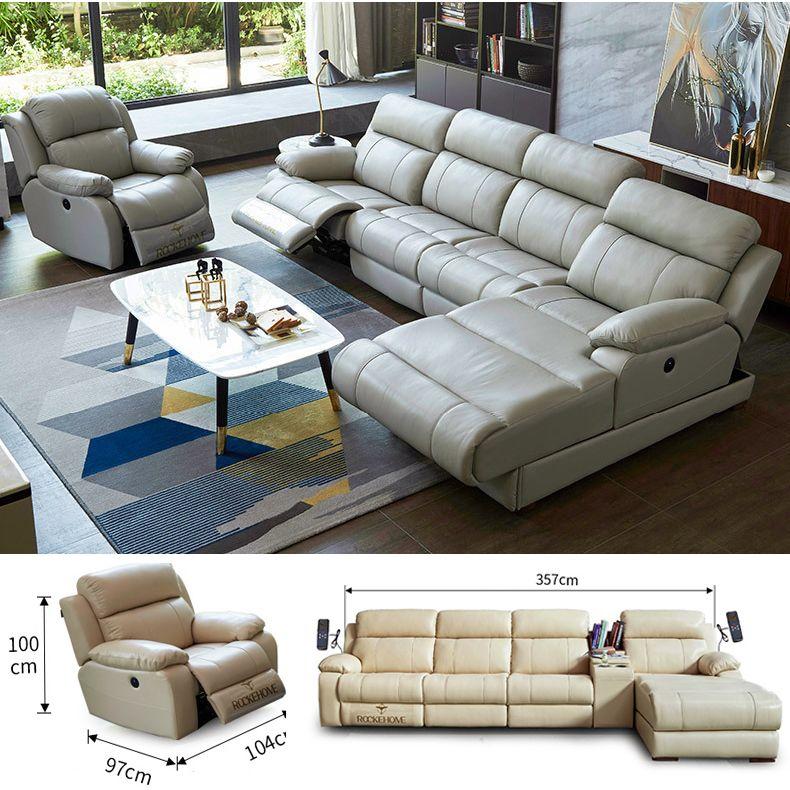 Ghế sofa massage đa chức năng hiện đại R835 size 357cm kèm ghế rời
