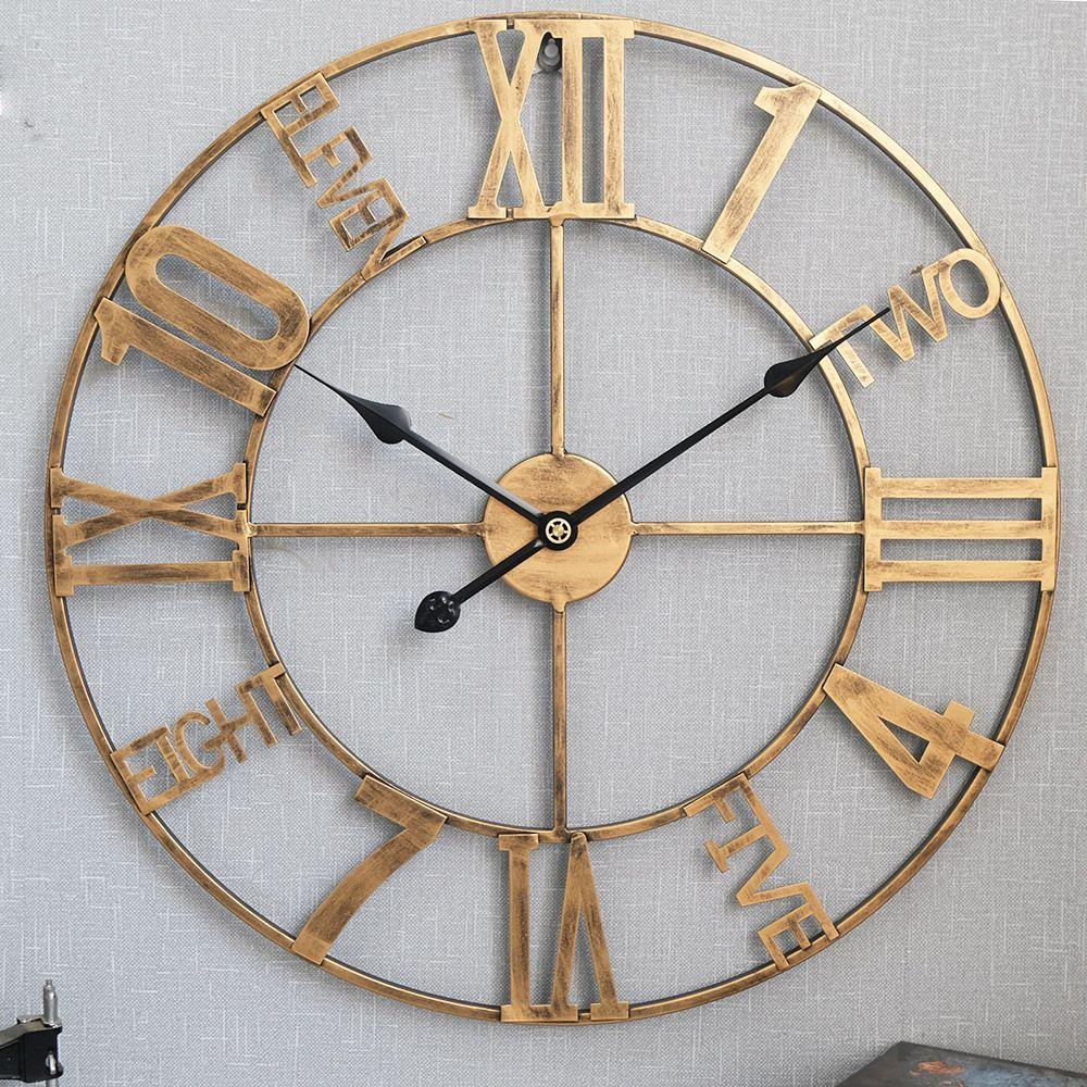 Đồng hồ trang trí thiết kế ấn tượng 2056 màu vàng đồng