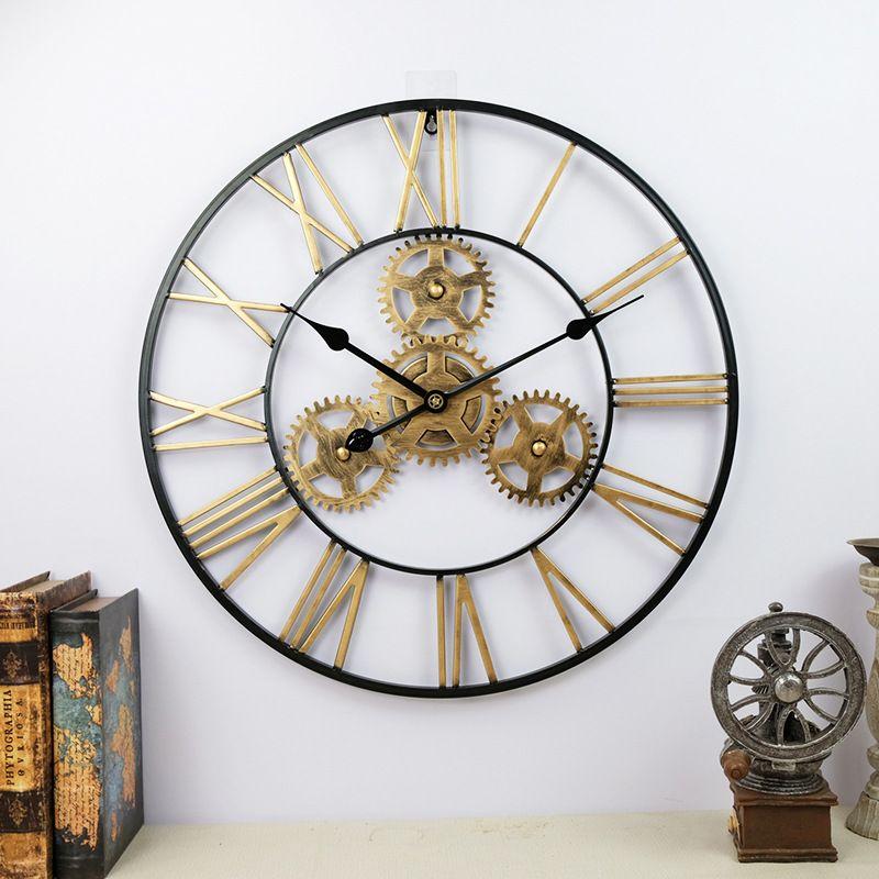Đồng hồ trang trí thiết kế bánh răng ấn tượng XY2024 size 50cm màu đen