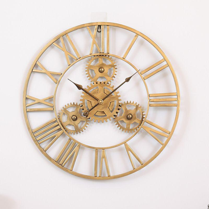 Đồng hồ trang trí thiết kế bánh răng ấn tượng XY2024 size 60cm màu vàng