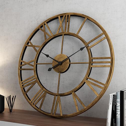 Đồng hồ treo tường trang trí phong cách Bắc Âu ấn tượng A95 màu đồng