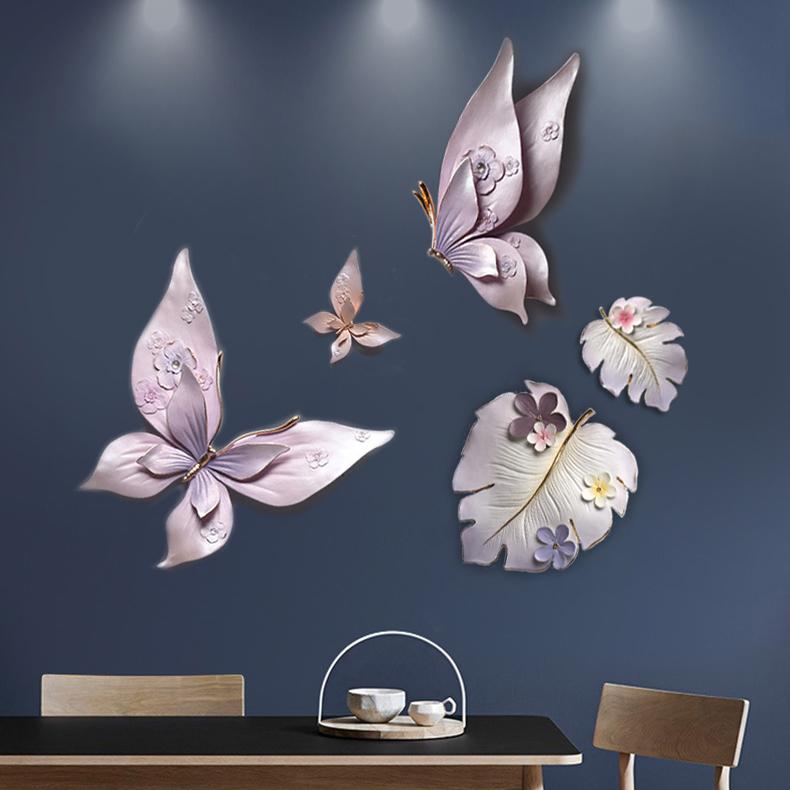 Bộ decor gốm bươm bướm tím và lá nghệ thuật DIY05