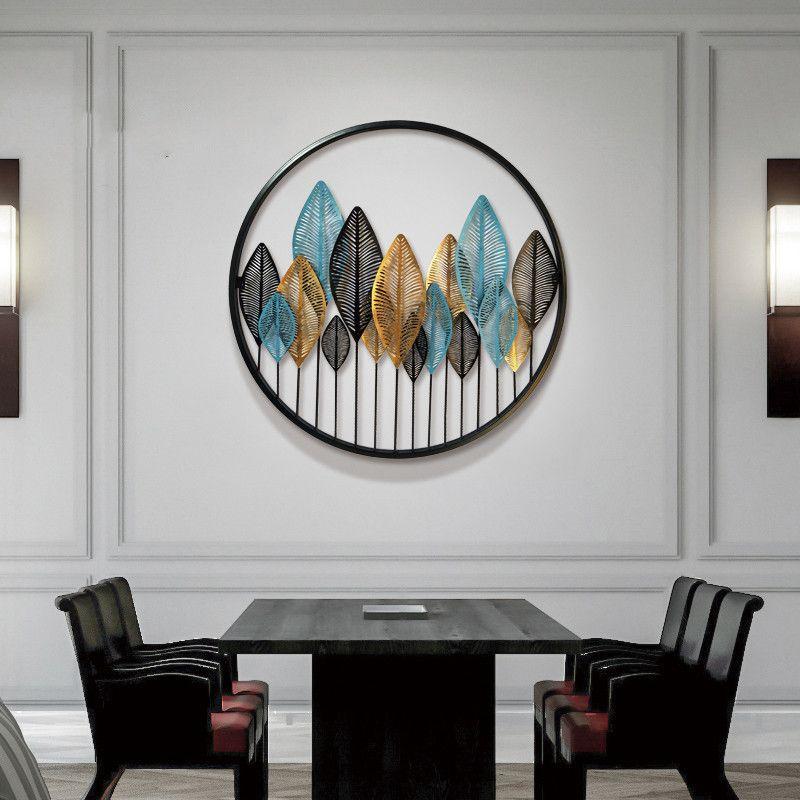 Decor tranh sắt trang trí 3D khung tròn lá cây hiện đại thêm A0392