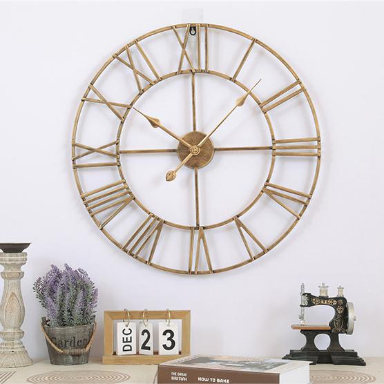 Đồng hồ treo tường trang trí phong cách Bắc Âu ấn tượng A93 màu vàng