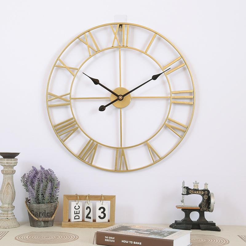 Đồng hồ treo tường trang trí phong cách Bắc Âu ấn tượng A94 màu vàng