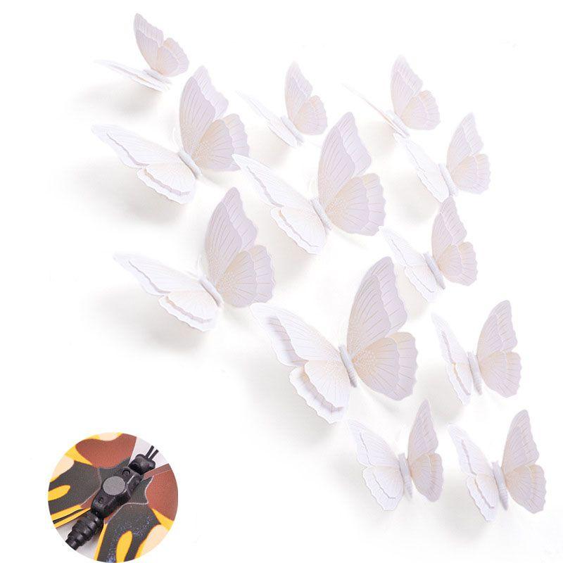 Set bướm decor 3D sắc màu bộ 12 con sống động BC01 màu trắng