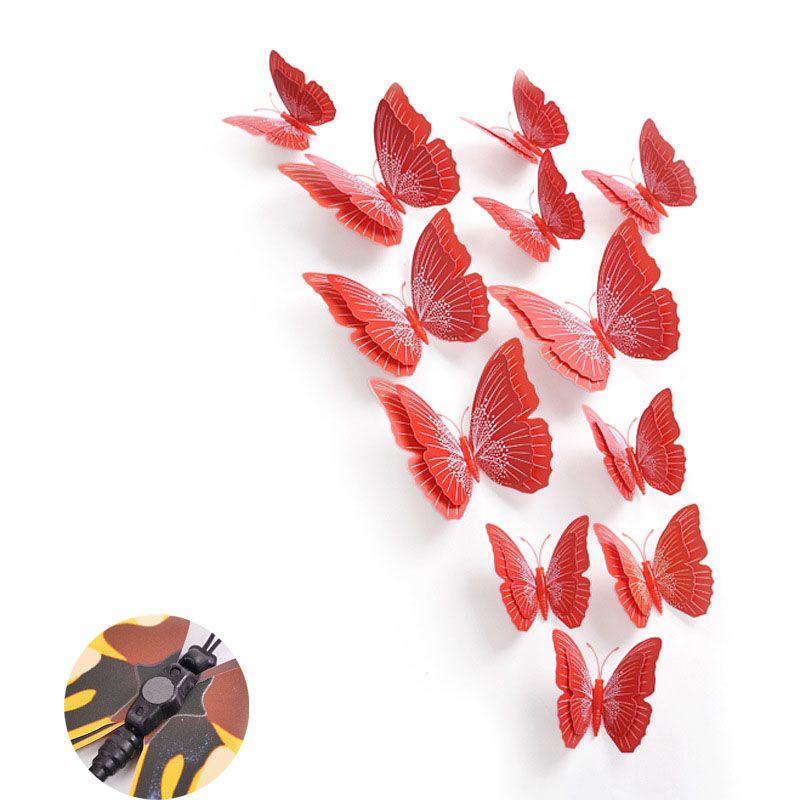 Set bướm decor 3D sắc màu bộ 12 con sống động BC01 màu đỏ