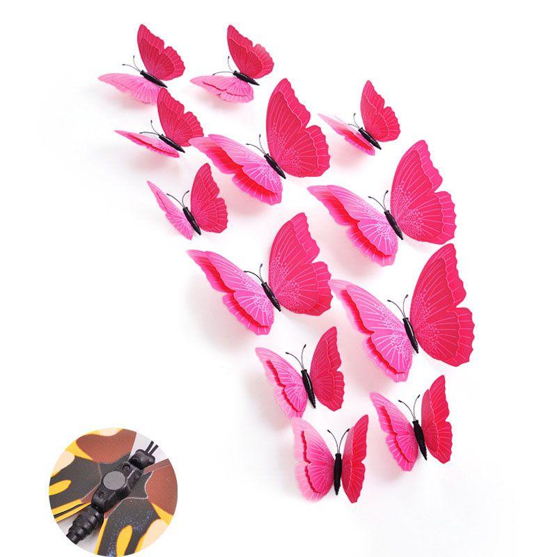 Set bướm decor 3D sắc màu bộ 12 con sống động BC01 màu hồng