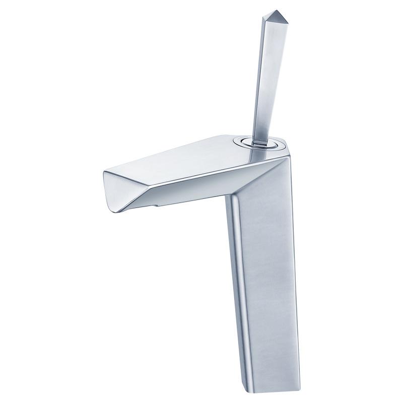 Vòi lavabo nóng lạnh bề mặt mờ cao cấp thiết kế siêu hiện đại YF5010 màu trắng kiểu cổ cao