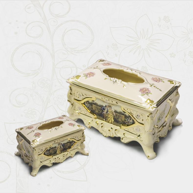 Hộp đựng giấy chất liệu gốm sứ cao cấp nhập khẩu từ Italia phong cách Hoàng Gia sang trọng 476A