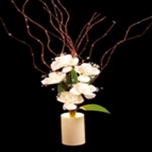 Hoa Hồng Trắng 5 bông đèn LED  cao 750mm tạo không gian ấm cúm cho căn phòng của bạn