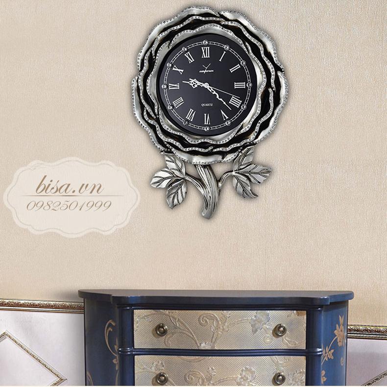 Đồng hồ hình bông hồng vô cùng đẹp và ấn tượng. Cho không gian đặc biệt sang trọng QM-6843