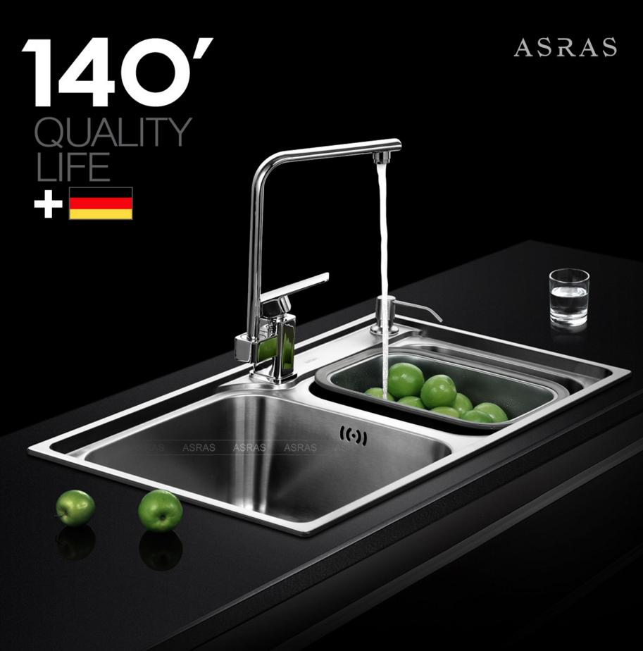Bộ chậu bếp hiệu ASRAS Inox 304 với độ dày 1.1-1.2mm bảo hành 5 năm AS7843