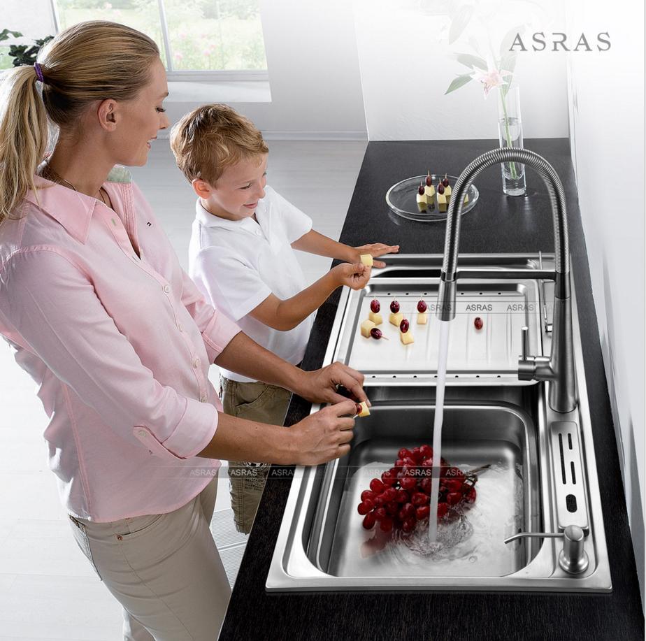 Chậu bếp thương hiệu ASRAS Inox304 luôn sáng bóng bảo hành 5 năm AS8149