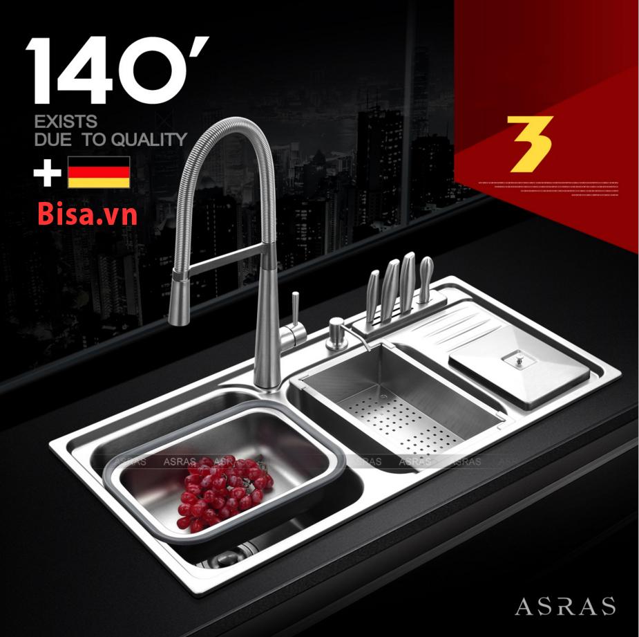 Bộ chậu bếp hiệu ASRAS Inox 304 với độ dày 1.1-1.2mm bảo hành 5 năm AS9245