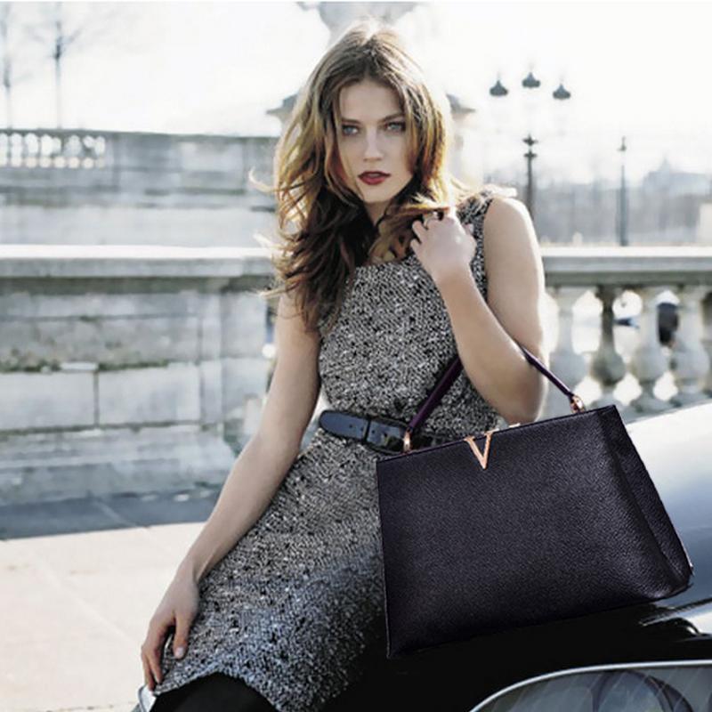 Túi nữ chữ V da bò thật 100% thương hiệu QI mang đến phong cách quý bà