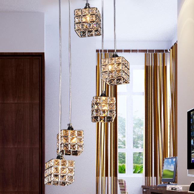 Đèn thả trần pha lê 5 bóng thiết kế khối vuông nổi bật không gian hiện đại FRHC-71