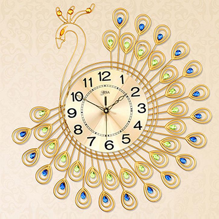 Đồng hồ treo tường công vàng thương hiệu Bisa cho không gian đặc biệt sang trọng BS5555-65
