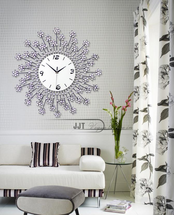 Đồng hồ treo tường hoa pha lê tuyệt đẹp cho không gian ấn tượng JT1350