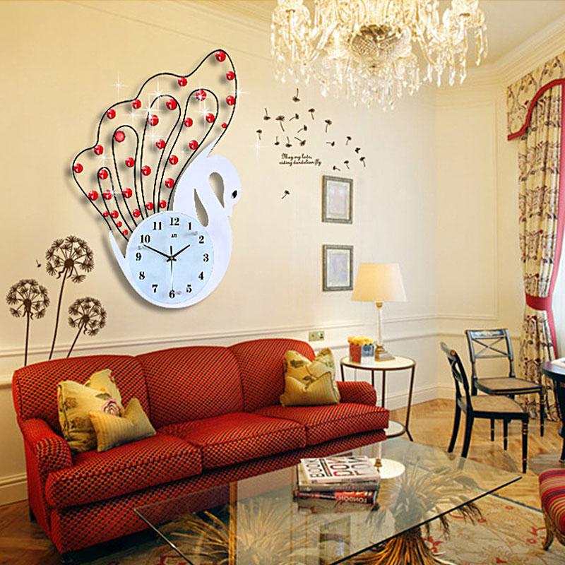 Đồng hồ trang trí pha lê thiên nga mang đến vẻ đẹp ấn tượng rực rỡ cho căn phòng JT1398