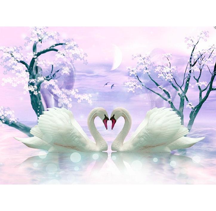 Tranh đính đá đôi Thiên Nga cho tình cảm gia đình thêm nồng thắm