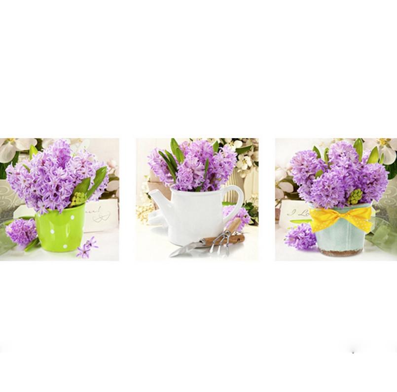 Tranh đính đá mẫu hoa XING7871 3 bức