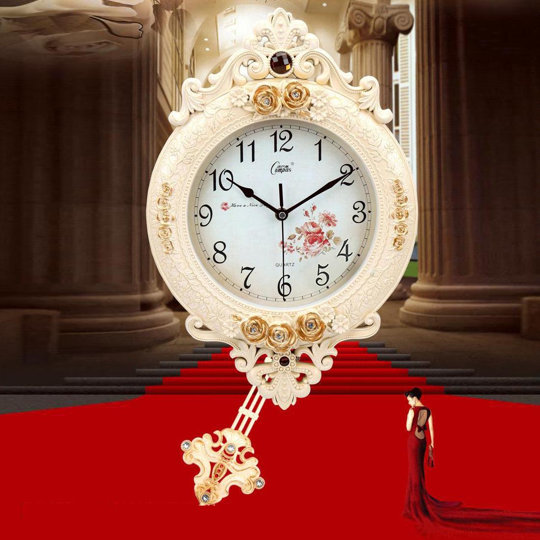 Đồng hồ treo tường- với họa tiết hoa văn cổ điển A-003