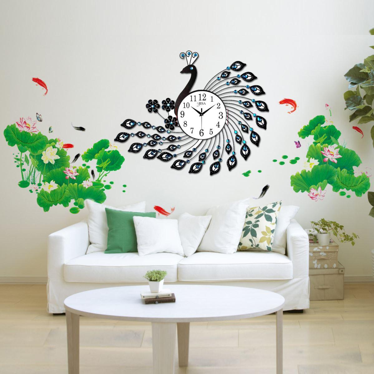 Đồng hồ treo tường chim công và tặng kèm tranh dán tường cho không gian của bạn thêm sang trọng