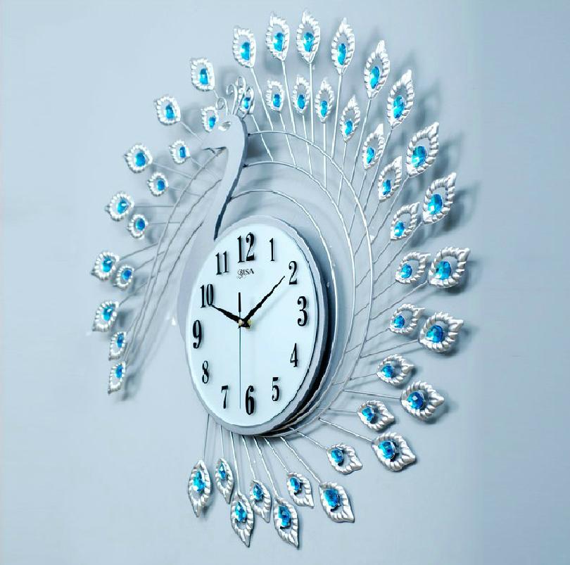 Đồng hồ treo tường thiết kế hình chim công cách điệu vô cùng đẹp và ấn tượng BS60002-TR