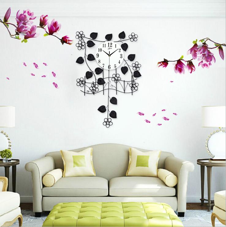 Đồng hồ treo tường dàn hoa thiên lý tặng kèm tranh dán tường khơi nguồn sáng tạo BS9999T