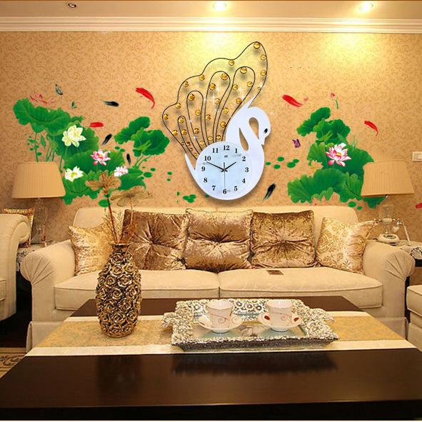 Phòng ngủ trở nên ấm áp hơn đồng hồ thiên nga, tặng tranh dán tường cực đẹp JT1398TT