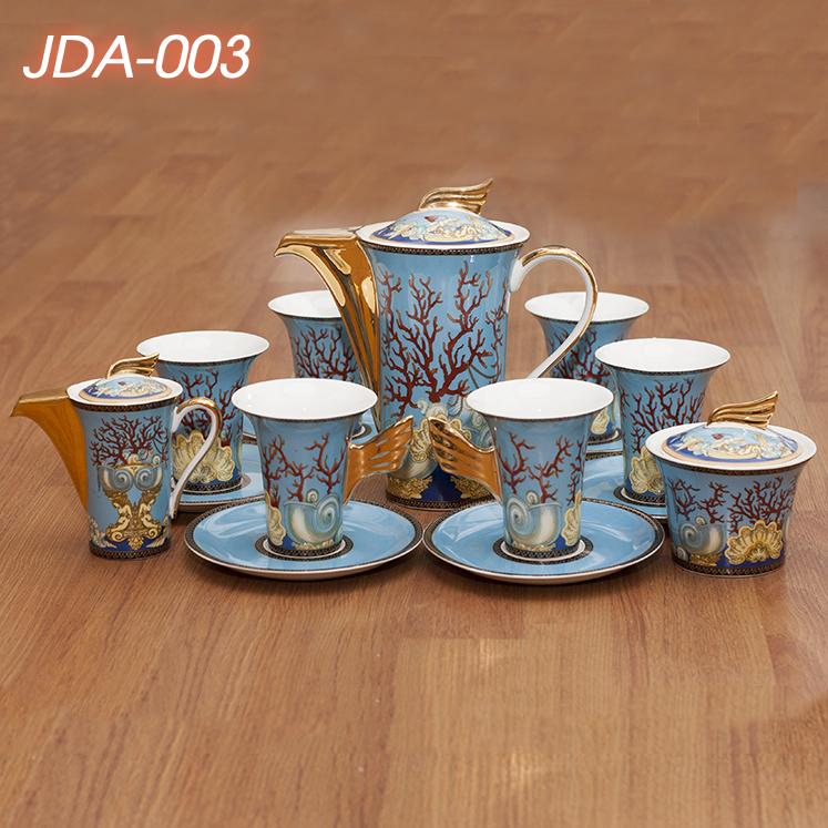 Bộ ấm chén phong cách Hoàng Gia bằng gốm sứ thủ công cao cấp JDA-003