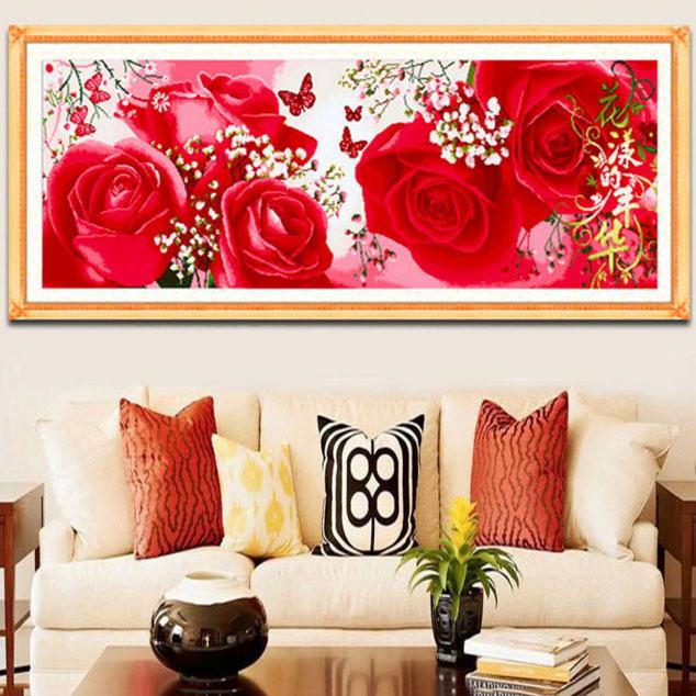 Tranh thêu chữ thập thành phẩm 5 bông hoa hồng đỏ HY-196
