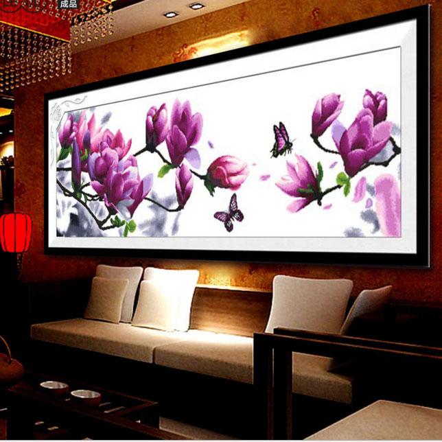 Tranh thêu chữ thập thành phẩm hoa lan cực đẹp và ấn tượng HY-198