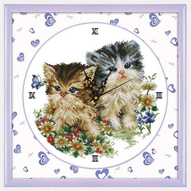 Tranh thêu chữ thập thành phẩm đồng hồ đôi bạn mèo đáng yêu YG-012