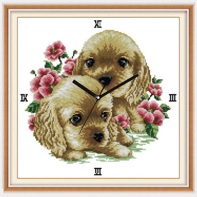 Tranh thêu chữ thập thành phẩm đồng hồ đôi bạn cún đáng yêu YG-013