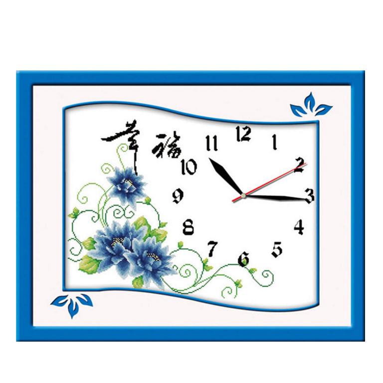 Tranh thêu chữ thập thành phẩm đồng hồ hoa cỏ YG-037