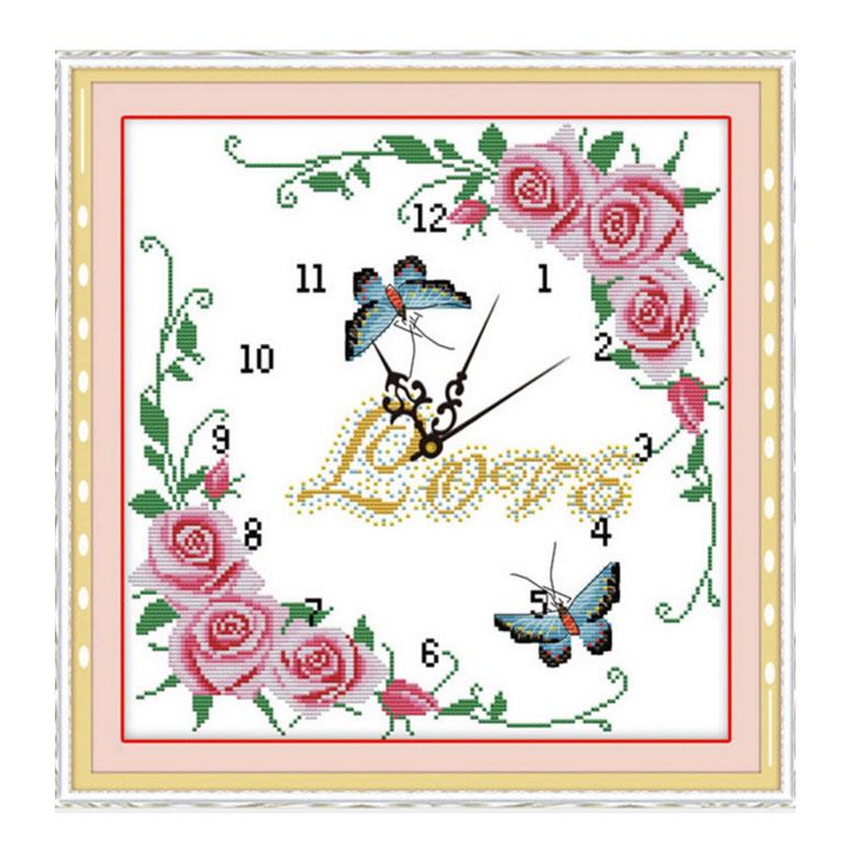 Tranh thêu chữ thập thành phẩm đồng hồ LOVE YG-047
