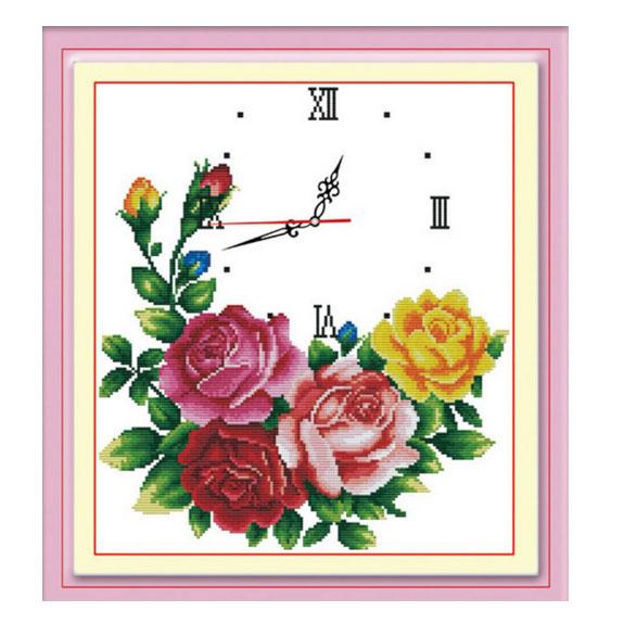 Tranh thêu chữ thập thành phẩm đồng hồ hoa hồng YG-050